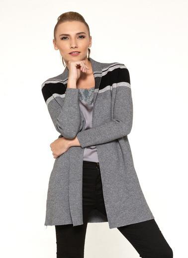 Optique Knitwear Çizgi Desenli M Yaka Uzun Kol Viskon Ceket Gri